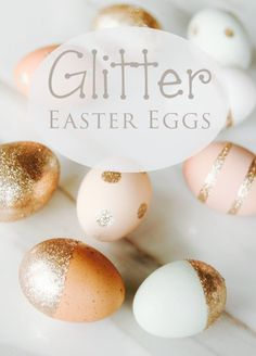 No dye Easter eggs! Use glue and glitter to get these beautiful eggs!