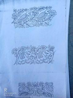 Hand Embroidery Design Patterns, Kurti Embroidery Design, Hand Embroidery Patterns, Floral Embroidery, Embroidery Stitches, Indian Embroidery Designs, Madhubani Painting, Kalamkari Painting, Basic Mehndi Designs