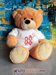 Duży Miodowy Miś z TWOIM NADRUKIEM :) Szczegóły tutaj: http://fajnyprezent.com/produkt/duzy-miodowy-mis-w-koszulce-z-twoim-nadrukiem-45cm/