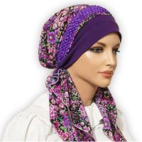 Our popular pretied scarf tichel bandanna snood is easy to put on and lovely to wear and treasure. Purple Braids, Tie Headband, Purple Garden, Beanie Hats, Head Wraps, Womens Scarves, Floral Prints, Lady, Hijabs