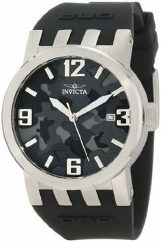 Invicta Women's 10463 DNA Black Camouflage Dial with Black Silicone Strap Watch Invicta. Save 92 Off!. $71.10. Swiss quartz movement. Date function at 3:00. Black camouflage dial with silver tone and white hands, silver tone hour markers and arabic numerals. Water-resistant to 100 M (330 feet). Mineral crystal; brushed stainless steel case; black silicone strap
