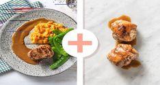 Varkenshaas met wortelpuree en zelfgemaakte vleesjus Recept | HelloFresh Een recept om je vingers bij af te likken! Varkenshaas is het meest malse stuk vlees van het varken en kun je in tegenstelling tot andere stukjes varkensvlees ook rosé eten. Naast de wortelpuree serveer je peultjes. Wist je dat peultjes familie van de doperwt zijn? Ze worden alleen heel vroeg geoogst, waardoor ook hun omhulsel – de peul – eetbaar is. Meat, Chicken, Ethnic Recipes, Hairstyle, Food, Hair Job, Hair Style, Hair Looks, Hairdos