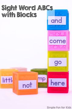 Learn and review your pre-primer words with this quick and simple Sight Word ABCs with Blocks  hands-on learning activity!