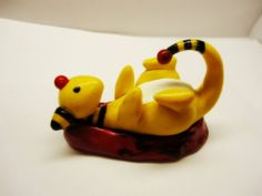 """POKEMON Ampharos- A polymer clay sculpture, about 2"""" tall, with red coral."""