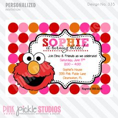 Girly Elmo Personalized Party Invitation-POLKA DOT, POLKADOT, PINK, SESAME, MONSTER,INVITATION, INVITE, PRINTABLE, PRINTED, PRINT, DIY, PINK PICKLE STUDIOS, PINK PICKLE PARTIES, CELEBRATION,