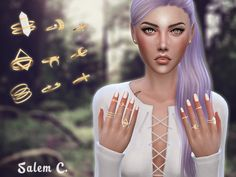 Jewelry for the fingers (TS4)• Rings set #1 - 4 swatches - DOWNLOAD • Nails #1 - 10 swatches - DOWNLOAD All meshes by me. • Hair - Nightcrawler • Dress - me