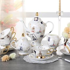 ShoppyStar Europe Logbook Bone China Coffee Set British Porcelain Tea Set Ceramic Pot Creamer Sugar Bowl Teatime Teapot Coffee Cup Tea Mug: Full Set Porcelain Dinnerware, Porcelain Ceramics, China Crafts, Coffee Supplies, Fine Porcelain, Painted Porcelain, Hand Painted, Tea Mugs, Bone China