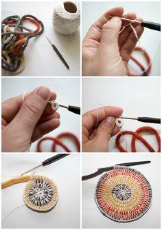 DIY Topflappen aus Strickliesel Schnur selber häkeln - Schritt für Schritt Erklärung