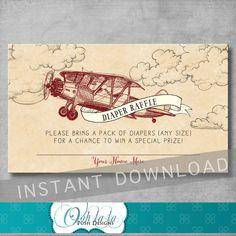 Vintage Airplane Baby Shower Diaper Raffle от OohlalaPoshDesigns