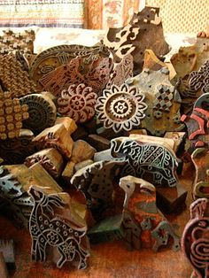 Hand carved wood blocks for block printing fabrics. Anokhi Museum of Hand Printing, Jaipur, India.