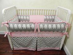 Custom Baby Bedding Set Daphne Pink w/ Gray by BabyBeddingbyJBD, $265.00