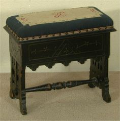 Victorian Aesthetic Spoon Carved Sewing Stool