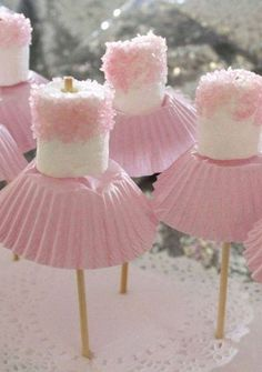 for Amzi's birthday? Marshmallow ballerinas Oh goodness - now, we've all seen cake pops, and we all know about what fun they can be for a party. so how about this for a theme, the ballerina party, complete with little marshmallow ballerinas! Babyshower Party, Tutu Party Theme, Birthdays, Marshmallow Pops, Pink Marshmallows, Marshmallow Skewers, Birthday Ideas, 4th Birthday, Birthday Snacks