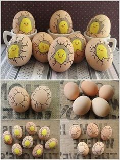 Best 31 Easy and Fun Easter Crafts Sure to Amaze Your Kids Paint Cute Chicks Inside Eggs 15 Foolproof DIY Projects for Funny Eggs Faces Color and decorate great ideas for Easter eggs what will make you happier is the fact that these Creative Ways to Decor Kids Crafts, Easy Crafts, Diy And Crafts, Easy Diy, Kids Diy, Creative Crafts, Decor Crafts, Funny Eggs, Funny Easter Eggs