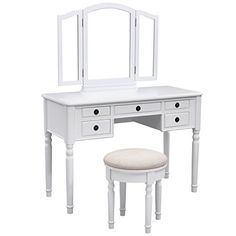 SONGMICS Vanity Set w/ Stool and Folding Mirror Make-up Dressing Table, 3 Mirrors 5 Drawers White URDT108W ** Find out more details by clicking the image : Bridal Makeup