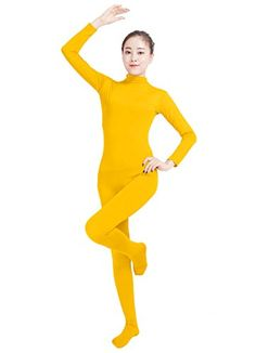 Introducing Ensnovo Womens Lycra Spandex Zentai Suits One Piece Footed Unitard YellowM. Get Your Ladies Products Here and follow us for more updates!