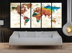 Large wall art push pin travel world map is the most popular design for wall decor rather than normal photo prints, because this is unique design can not find anywhere else. i add eps sheet back of the canvases and that is allow to keep notes or photos where you traveled. canvas is durable than paper or cardboard. they are damage one or two times uses. maybe buyers choose paper for the low cost but in a short time when it damage can not use and lost all money. Push pin world map wall art…