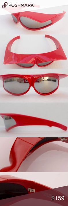 Jeremy Scott x Linda Farrow Sunglasses ✨From the super exclusive and rare Jeremy Scott x Linda Farrow collection✨*Fire engine red sunglasses with front visor over eyes. Polished iridium lens. *Visor turns up on head to be worn as cat ears, 2012 Catwoman style. *Flawless condition. No trades Jeremy Scott Accessories Sunglasses