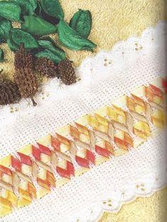 Como bordar toallas con cinta