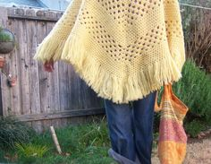 Vintage crochet poncho // buttery yellow // FRINGE by dahlilafound, $28.00