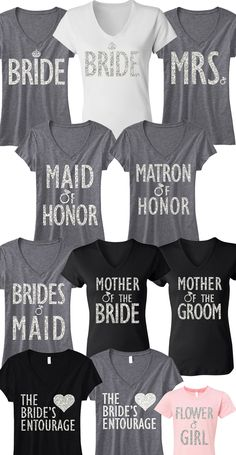 Pick Any 5 #BRIDAL / #WEDDING  SHIRTS (Bride, MRS, Maid of Honor, Bridesmaid, etc!) & Get 15% Off Bundle Deal + FREE MRS. Tote -- By #NobullWomanApparel, for only $106.95! Click here to buy http://nobullwoman-apparel.com/collections/bridal-shirt-packages/products/bridal-wedding-5-shirts-15-off-bundle