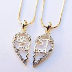 There is 1 tip to buy jewels, bff. Bff Necklaces, Best Friend Necklaces, Best Friend Jewelry, Cute Necklace, Friend Rings, Couple Necklaces, Layered Necklace, Bff Gifts, Best Friend Gifts