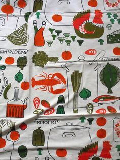 1950s vintage brightly coloured fabric (curtain) (Kitchen)