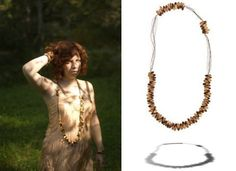Fallen Trees necklace and bracelets by Michelle Pajak-Reynolds,     Collection: Water's Edge    Materials: 24k gold leaf, Banghaw wood, glass, steel    Model: Carmel Clavin    Photographer: Pat Jarrett (left), Steven Brian Samuels (right)