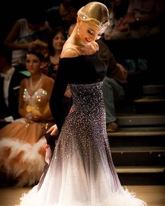 Our very beautiful DSI Elite Performer Cäroly Jänes wearing our Black-White Shaded Georgette. Ballroom Costumes, Latin Ballroom Dresses, Ballroom Dance Dresses, Ballroom Dancing, Dance Costumes, Ballroom Hair, Latin Dresses, Baile Latino, Dance Hairstyles