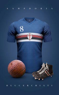 Vintage Clubs II on Behance - Emilio Sansolini - Graphic Design Poster - Sampdoria - Blucerchiati