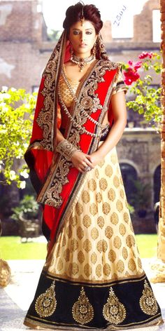 1 Modern Designer: This is a Lehenga Saree design of a red and gold colored sari. It is is intended for bridal wear. Indian Bridal Wear, Indian Wear, Lehenga Sari, Bridal Lehenga, Anarkali, Black Lehenga, Bollywood Lehenga, Lehenga Style, Bridal Gown
