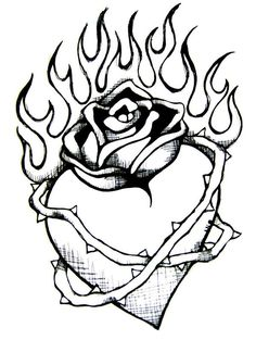 Broken heart drawings with dragons draw a dragon heart for Coloring pages of hearts on fire