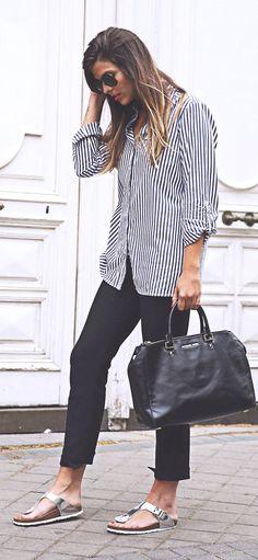 Silver Birkenstocks Casual Chic Streetstyle by TrendyTaste