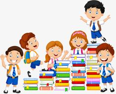 Book Clip Art - Happy School Kids Playing With Stack Of Books Student Clipart, School Clipart, Book Clip Art, Image Transparent, Kids Reading Books, Work On Writing, Grande Section, School Decorations, School Boy