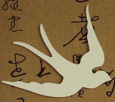 "50 Die Cut Flying Swallow Ivory, White or Kraft Blank Tags 4-1/2"" x 5"""