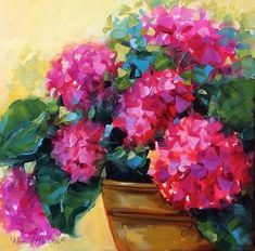 "Daily Paintworks - ""Pink Renewal Hydrangeas - Flower Garden Tours and Paintings by Nanc"" - Original Fine Art for Sale - © Nancy Medina"