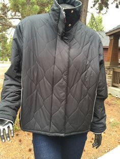 Women's Nike Jacket Black XL 14-16  Quilted Pattern 3M Mint Winter Zip Jacket  | eBay