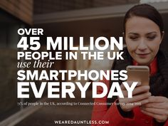 Over 45 Million people in the UK use their smartphones everyday. Is your website mobile friendly? Dauntless Quotes, Consumer Survey, Make Business, Web Design Company, About Uk, Inspirational Quotes, Technology, Marketing, Website