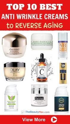 Here are The TOP 10 Best Drugstore Anti-Wrinkle Creams that Actually Work.Effective Anti-aging products don't have to be expensive. These affordable skin tightening products will get rid of fine lines and wrinkles without breaking the bank! Creme Anti Age, Anti Aging Cream, Best Anti Aging, Anti Aging Skin Care, Serum, Wrinkle Remedies, Firming Cream, Facial Cream, Skin Cream