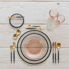 Black and gold and blush all over With our Halo Glass Chargers and Dinnerware in Black + Vintage Pink Swirl Collection Plates + Goa Flatware in Gold/Black + Vintage Pink Swirl Goblets + Vintage Champagne Coupe + Gold Salt Cellars + Tiny Gold Spoons #