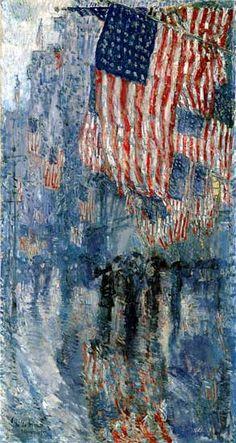 """CHILDE HASSAM: """"La Avenida bajo la lluvia"""" - 1917"""