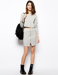 Noisy May   Noisy May Quilted Skirt With Zip at ASOS