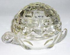 Vintage Anchor Hocking Glass Box Turtle & Lid Heavy Clear Art Trinket Candy Dish