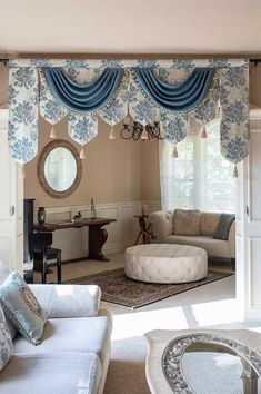 Picture of Blue Floral Palace Pelmet Style Living Room Decor Curtains, Swag Curtains, Home Curtains, Curtains With Blinds, Kitchen Curtains, Blackout Curtains, Curtain Valances, Drapery Panels, Window Curtains