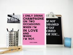 I Only Drink Champagne Coco Chanel Quote Print in Pink and Black Valentine's Day Gift Love Quote Anniversary Wedding Gift for Her Poster