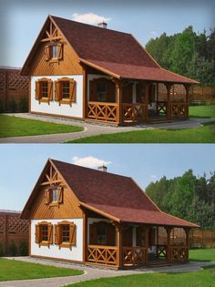 SENDOM.PL - Producent domów drewnianych Hut House, Tiny House Cabin, Timy House Plans, Pre Built Cabins, Cordwood Homes, Cute Little Houses, Woodland House, Modern Bungalow House, Model House Plan