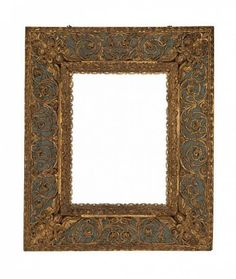 Late 18th century Italian carved, gilt and polychrome frame