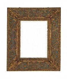 Late 18th century Italian carved, gilt and polychrome frame