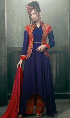 Look stunning gorgeous dressed with this blue shade georgette salwar suit. The attractive lace, patch and resham work throughout the dress is awe-inspiring. #TraditionalLookKotyStyleUpAndDownSuit
