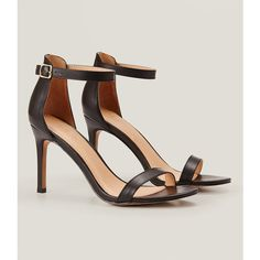 LOFT Ankle Strap Sandals ($80) ❤ liked on Polyvore featuring shoes, sandals, black, black ankle strap shoes, black sandals, kohl shoes, black ankle wrap sandals and ankle tie sandals